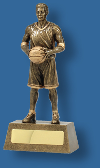 Gold male Basketball figure trophy