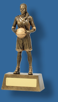 Gold female Basketball figure trophy