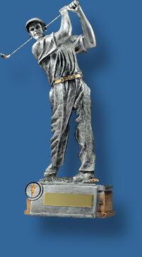 Silver Gold figure driving action trophy