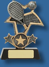 Tennis star trophy silver gold