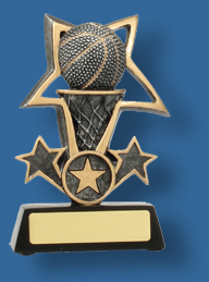 Silver star and Basketball trophy