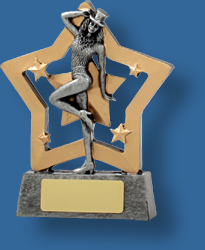 Silver female tap Dance star trophy