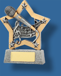 Music Trophy Generic Resin. Mini Star Series.Gold star microphone Music trophy