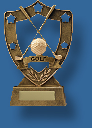 Gold shield with crossed Golf clubs and ball trophy