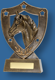 Gold horse head Equestrian trophy