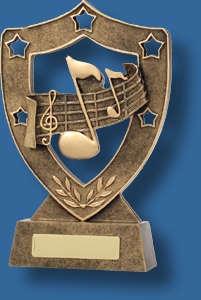 Music Trophy Generic Resin. Gold Shield Series. shield with music notes Music award