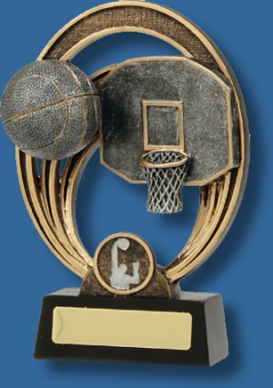 Gold rings and silver Basketball collage trophy
