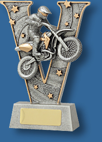 Motor Sports Trophy Generic Resin. Motorcross V-Series. Silver motor cross bike Motor Sports trophy