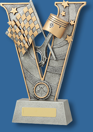 Large silver Motor Sports collage trophy
