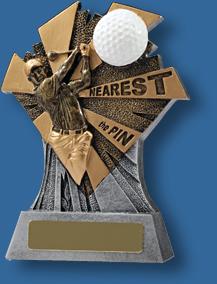 Gold nearest the pin Golf trophy