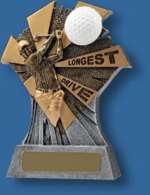 Gold longest drive Golf trophy