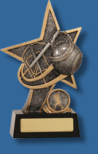 Silver star and Baseball collage trophy