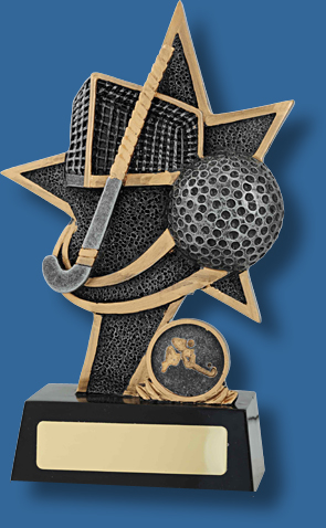 Gold star with Hockey net , ball and stick trophy