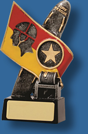 Dark surf life saving trophy with reel and flag