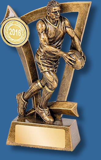 Gold Aussie Rules action figure kicker trophy