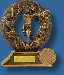 Bronze male tennis player in wreath