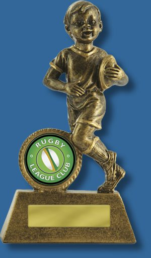 Boys small touch football trophy gold