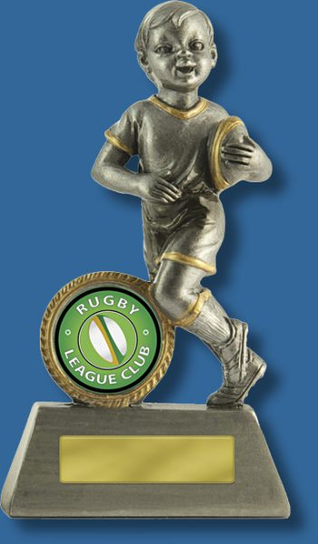 Boys small touch football trophy silver
