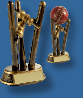 Gold Cricket stumps trophy
