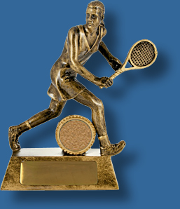 Female backhand tennis trophy