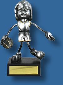 Silver female stylised Basketball figure trophy