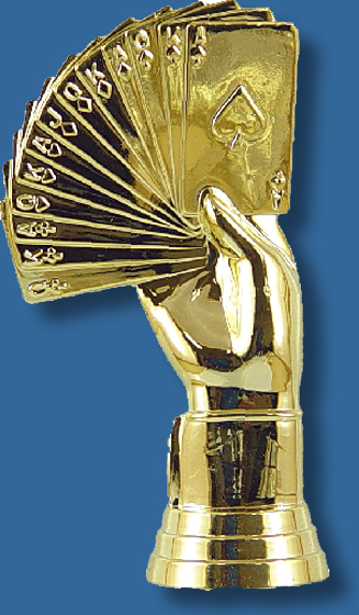 Gold hand of Cards figurine on base of choice
