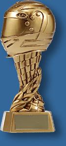 Tall gold mounted helmet Motor Sports trophy