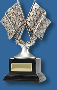 Motor Sports Trophy Generic Resin. Silver Flags Series. Silver mounted crossed flags Motor Sports trophy