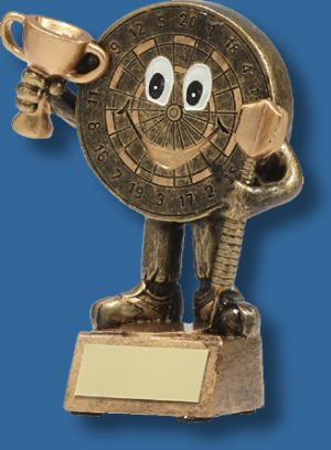 Gold smiley face Darts trophy
