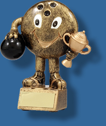 Tenpin bowling trophy ball holding cup