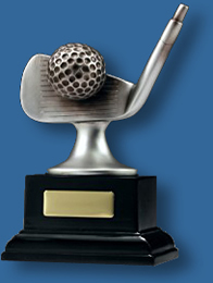 Mounted silver Golf iron on base trophy