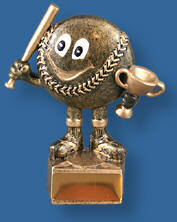 Gold Softball and cup stylised figure trophy