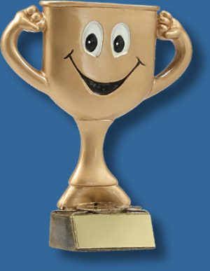 Smiley face gold cup Academic trophy