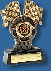 Motor Sports Trophy Generic Resin. Racing Flags Series. Check flags Motor Sports trophy