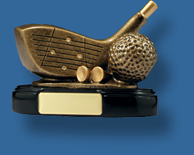 Gold Golf ball and driver trophy