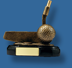Gold Golf ball and putter trophy