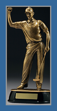 Gold male Golf figure victory salute trophy