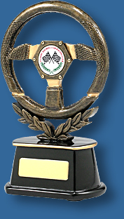 Gold steering wheel Motor Sports trophy