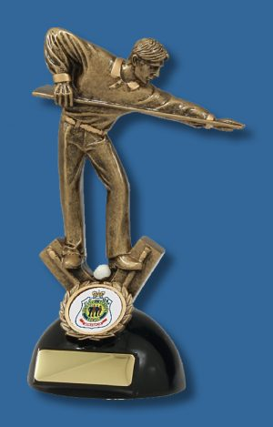 Gold action Snooker player trophy