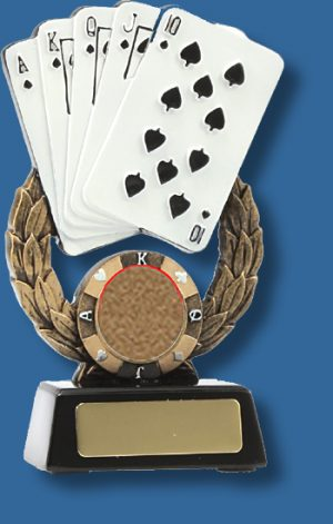 Black and white hand of Cards trophy