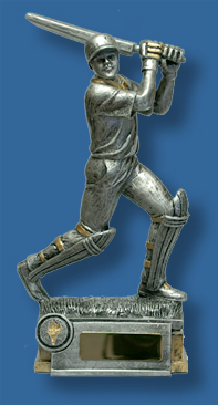 Silver Cricket batsman action figure award