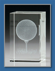 Glass Golf ball floating in rectangular prism