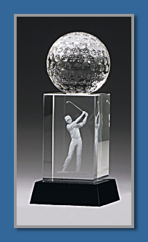 Crystal hologram Golf trophy