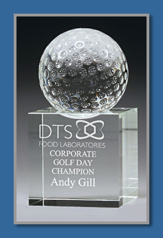 Crystal Golf trophy with mounted golf ball