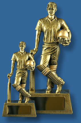 Gold Cricket batsman figure with helmut trophy