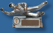 Silver Cricket fielder figure trophy