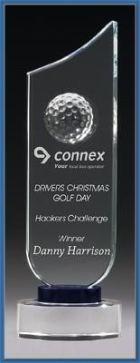 Elegant glass Golf trophy with Golf ball