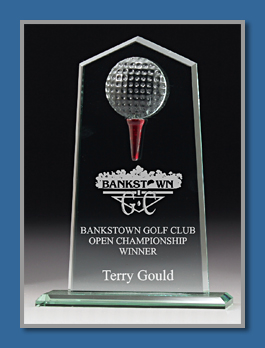 Free standing glass Golf award