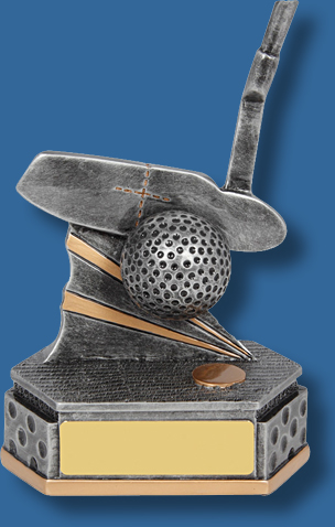 Silver mounted Golf putter trophy