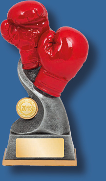 Silver mount with red Boxing gloves trophy